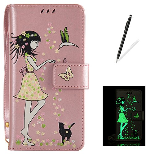 Samsung Galaxy S8 Leather Case Wallet Type [Luminous Effect] KaseHom [Free Black Stylus Pen] Fairy Girl Flowers Birds Cat Butterfly Pattern with Card Slot Flip Magnetic Cover Holster Rose Gold