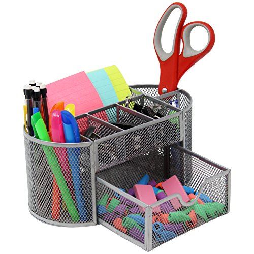 Mesh Desk Organizer Caddy For Office Supplies And Desk Accessories - Silver
