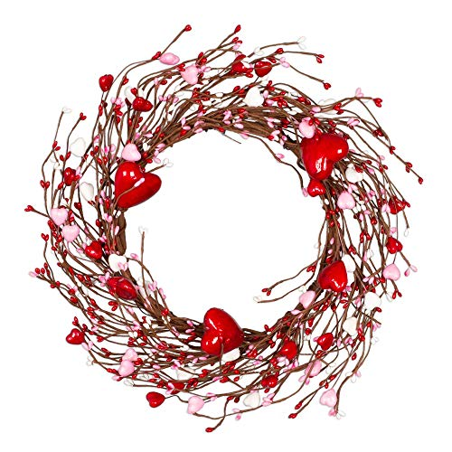 VGIA 14 Inches Red Pip Berry Wreath, Artificial Spring Wreath for Front Door, Gifts for Girl Friend Women Mother Valentines Day Wedding Anniversary Home Office Decorations