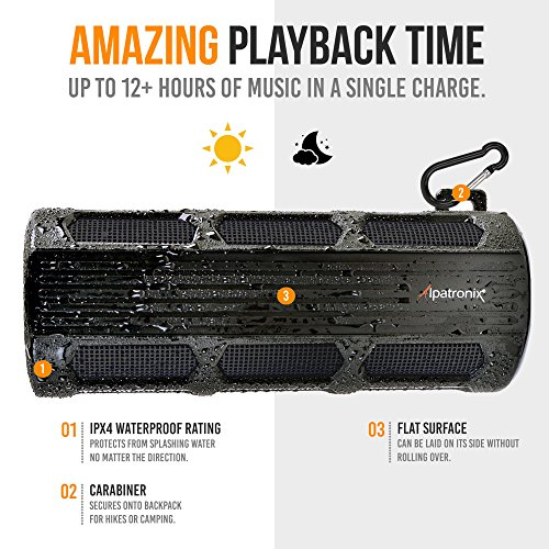 Alpatronix Waterproof Bluetooth Speaker Portable Rechargeable 12W Stereo Shockproof & Dustproof Wireless Speaker w/Built-in Mic, Controls & Subwoofer for Bicycles, Smartphones & Computers - Black by Alpatronix (Image #4)