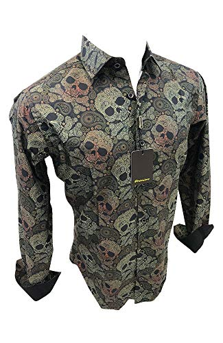 Flash Apparel Mens Premiere Long Sleeve Button Down Dress Shirt (Camo Green, Small)