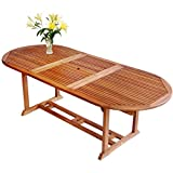 Luunguyen Remington Outdoor Hardwood Extension/Extendable Dining Table Natural Wood Finish