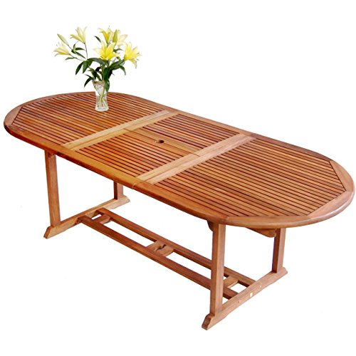 Luunguyen Remington Outdoor Hardwood Extension/Extendable Dining Table Natural Wood Finish (Extendable Patio Table)