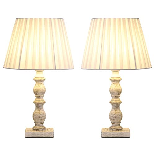 HAITRAL White Bedside Table Lamps – Set of 2 Vintage Elegant Nightstand Lamps Light with Fabric Shade and Wooden Base, Classic Lamps for Girls Room, Bedroom, Family Room, Den – White