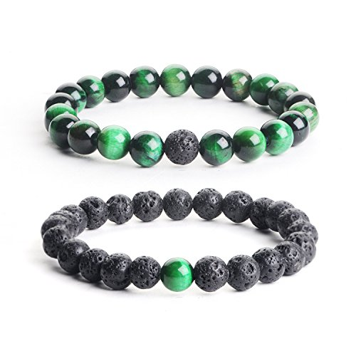 iSTONE Distance Bracelets 2pcs Black Lava Stone & Green Tiger Eye Energy Healing Stone Beads Bracelet Set Couple Jewelry