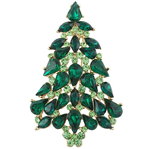 EVER FAITH Party Christmas Tree Teardrop Green Austrian Crystal Brooch Pin Gold-Tone ()
