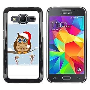 Be Good Phone Accessory // Dura Cáscara cubierta Protectora Caso Carcasa Funda de Protección para Samsung Galaxy Core Prime SM-G360 // Winter Christmas Hat Owl