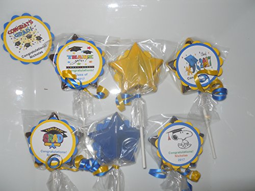 12 Graduation 2017 Personalized Candy Party Favors Gourmet Chocolate lollipops