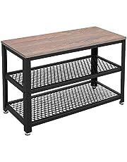 VASAGLE Shoe Rack Bench, 3-Tier Storage Organizer Shelf with Seat