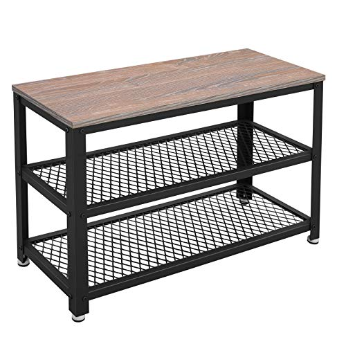 VASAGLE Bryce Shoe Bench, 3-Tier Shoe Rack, Storage Shelves with Seat, for Entryway, Living Room, Hallway, Accent Furniture, Metal Frame, Industrial Design, Weathered Sand ULBS73BH,vasagle