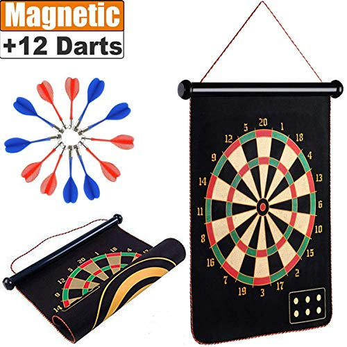 ZS Yangmei Rollup Magnetic Dart Board for Kids and Adults with 12pcs Safe Darts, Best Toys Gift for Age 4 5 6 7 8 9 10 11 12 Year Old -