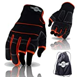 ToolFreak TF6 Open 3 Finger Gloves Perfect for Work, Sport and Activity | Provides Ultimate Control | Padded Palms to Better Absorb Vibration | Help Stop Cuts & Scrapes | 9 | Bonus Product Included