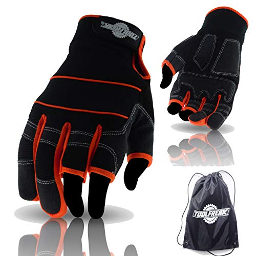 ToolFreak TF6 Open 3 Finger Gloves Medium for Work, Sport and Activity | Provides Ultimate Control | Padded Palms to Better Absorb Vibration | Help Stop Cuts & Scrapes | 8 | ++ Bonus (medium)