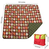 Outdoor Blanket, MCIRCO Picnic Blanket Foldable Large Water-Resistant Backing Beach Blanket Soft Durable Camping Travelling Mat(78.74 inch X 78.74 inch) with Tote Bag for Storage (Green)