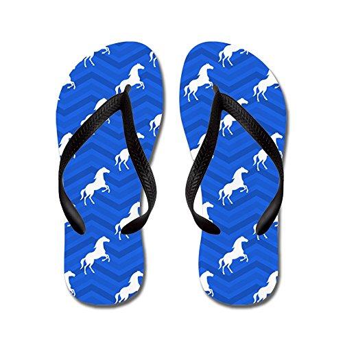CafePress Cobalt Blue, White Horse, Equestrian, Chevron Pat - Flip Flops, Funny Thong Sandals, Beach Sandals Black