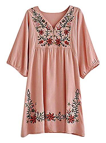 [Hibukk Women's Casual Fancy Floral Embroidery Short Sleeve Maternity Dress Top, Pink One Size] (Maternity Fancy Dress Uk)