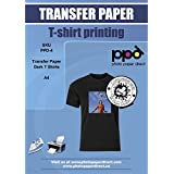"""PPD Inkjet Iron-On Dark T Shirt Transfers Paper LTR 8.5x11"""" Pack of 10 Sheets (PPD004-10)"""