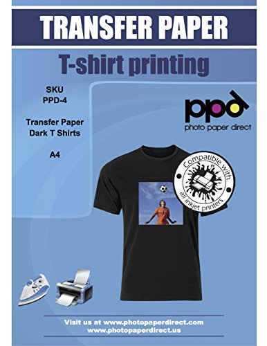 "PPD Inkjet Iron-On Dark T Shirt Transfers Paper LTR 8.5x11"" Pack of 10 Sheets (PPD004-10)"