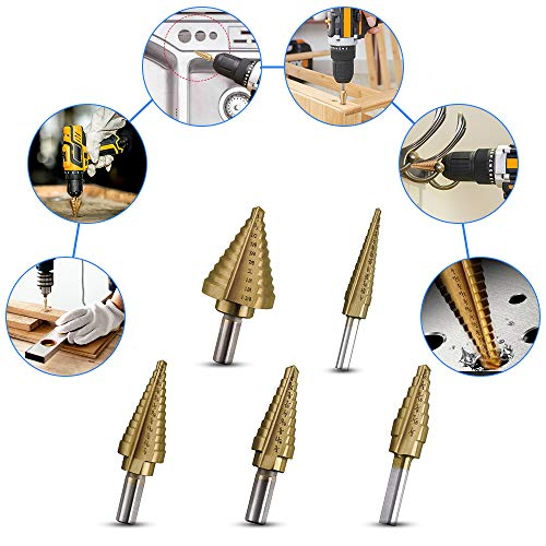 High Speed Steel Step Drill Kit Total 50 Sizes 6 Pieces Titanium Step Drill Set with Automatic Center Punch in A Canvas Bag Vastar Step Drill Bit Set