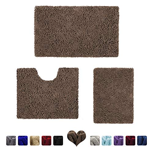 HOMEIDEAS 3 Pieces Bathroom Rugs Set Brown, Luxury Soft Chenille Bath Mats Set, Absorbent Shaggy Bath Rugs & Slip Resistant Plush Carpets Mats for Tub, Shower, Bathroom