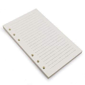 Carpeta de recambio A6 de 6 anillas, 6 agujeros,papel blanco recargable para carpeta de hojas sueltas, cuaderno de cuaderno, diario de viaje, 80 ...