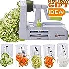 Brieftons 5-Blade Spiralizer (BR-5B-02): Strongest-and-Heaviest Duty Vegetable Spiral Slicer, Best Veggie Pasta Spaghetti