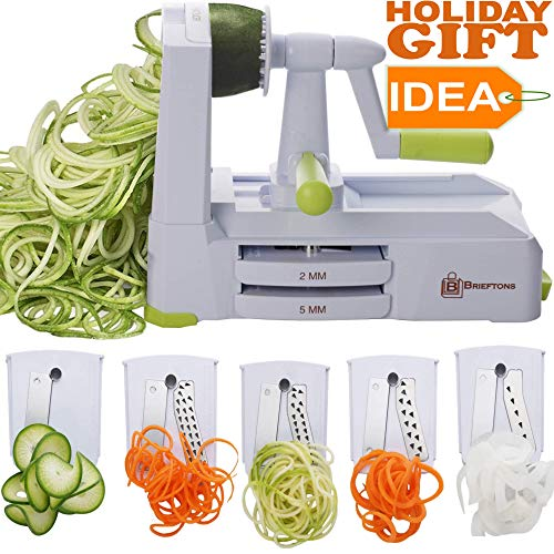 Brieftons 5-Blade Spiralizer (BR-5B-02): Strongest-and-Heaviest Duty Vegetable Spiral Slicer, Best Veggie Pasta Spaghetti Maker for Low Carb/Paleo/Gluten-Free, With Extra Blade Caddy & 4 Recipe ()