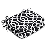 Cheap Pillow Perfect Outdoor New Geo Rounded Corners Seat Cushion, Black/White, Set of 2