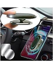 Moogambi Magnetische houder voor auto, mobiel, zelfklevend, met 2 metalen platen voor mobiele telefoon, 360 graden rotatie voor auto of muur (zwart)
