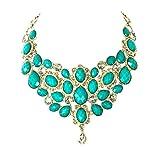 Amrita Singh Crystal South Fork Statement Bib Necklace, Dark Aqua Multi