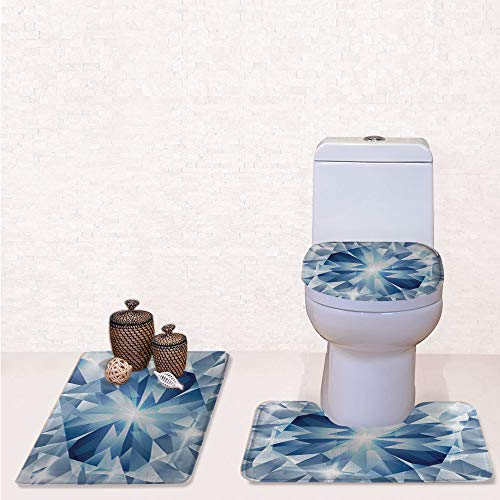 (Comfort Flannel 3 Pcs Bath Rug Set,Contour Mat Toilet Seat Cover,Floral Shaded Group of Frozen Diamond Patterns Decorative Digital Prints Decorative with Blue Silver,Decorate Bathroom,Entrance)