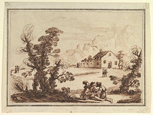 (Historic Fine Art Print | 18th Century Imitator of Guercino (Giovanni Francesco Barbieri) | Landscape with Figures and a Farm House | Vintage Wall Art Décor Poster Reproduction | 20in x 16in )