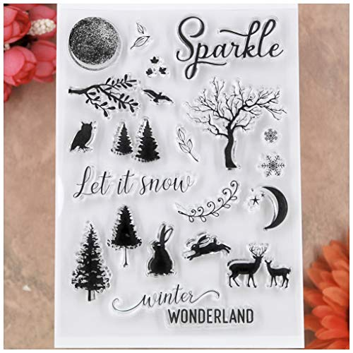 KWELLAM Merry Christmas Tree Deer Let it snow Winter Wonderland Clear Stamps for Card Making Decoration and DIY Scrapbooking