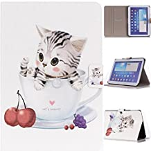 """Slim Fit P5200 Case, Gift_Source(Stand Feature) Folio Flip PU Leather Case Cover Skin Back Case for Samsung Galaxy Tab3 10.1"""" Tablet GT-P5200 / GT-P5210 (Cute kitten Pattren),Sent Screen Protector + Stylus Pen"""