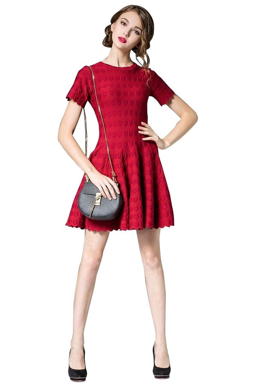 BOMOVO Damen Sommerkleid Elegant Rundhals Knit Minikleid Partykleid ...