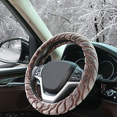 Auto Lenkrad Bezüge Zatooto Plüsch Lenkradbezug Warm Für Den Winter Universal 37 38cm Lenkradabdeckung Gemütlich Rutschfest Braun Auto