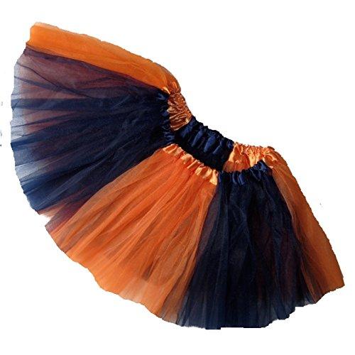 [Southern Wrag Company ADULT TEAM SPIRIT Tutu ORANGE NAVY Sizes S-XXL (M: TUTU WAIST 26-48)] (Plus Size Tiger Costumes)