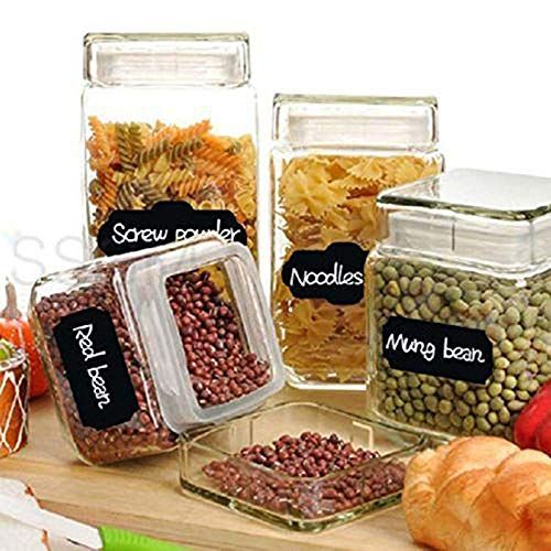 Tasquite Creative Chalkboard Labels Blackboard Stickers Removable Waterproof Small Fancy Rectangles for Labeling Mason Jars Pantry Organization Kitchen Containers 40 Pcs for Office Home