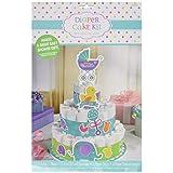"""Amscan Baby Shower Bottom Diaper Cake Kit, 13 1/4"""", Multicolor"""