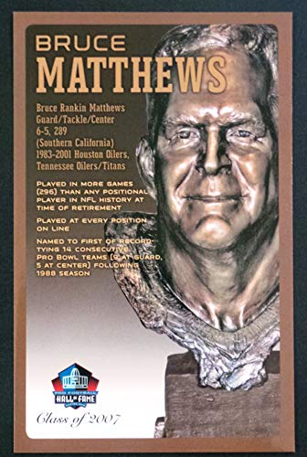(PRO FOOTBALL HALL OF FAME Bruce Matthews NFL Bronze Bust Set Card Postcard (Limited Edition #94 of 150))