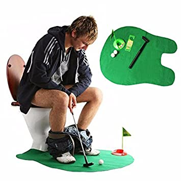 Toilet Seat Golf, Mini Potty Golf Set Putter Novelty Bathroom Golf Game Gag Gift for Men/Kids