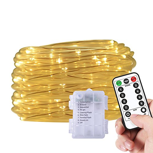 Battery Operated Rope Light Waterproof 33ft LED String Lights with Remote Firefly lights For Outdoor Indoor Home Decoration (Warm White) (Snowman Light String)