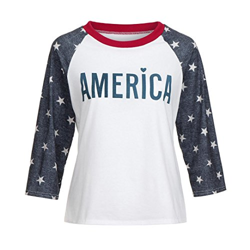 E-Scenery Women's Casual America Star Print 3/4 Sleeve Cotton T-Shirt Blouse Shirts Tunic Tops (Wihte, Small)