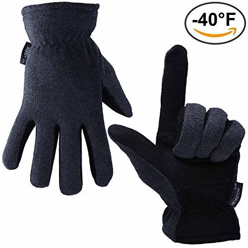 Thermal Gloves, OZERO -40°F Cold Proof Winter Glove - Genuine Deerskin Suede Leather Palm and Polar Fleece Back with Heatlok Insulated Cotton Layer - Keep Warm in Extreme Cold Weather - Gray (XL)