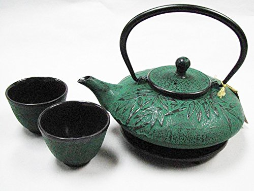 Happy Sales HSCT-MBG07, Cast Iron Tea Pot Tea Set Mochi Bamboo Green