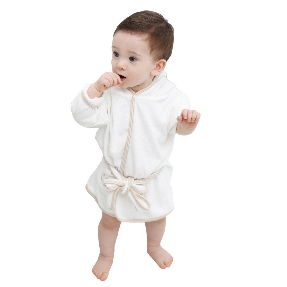 Natural White Bath Robe Baby Boy Girl 100% Certified Organic Cotton