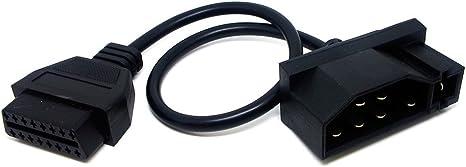 OBD1 7Pin Male to OBD 2 OBD II 16-Pin Diagnostic Adapter Cable For FORD EFI