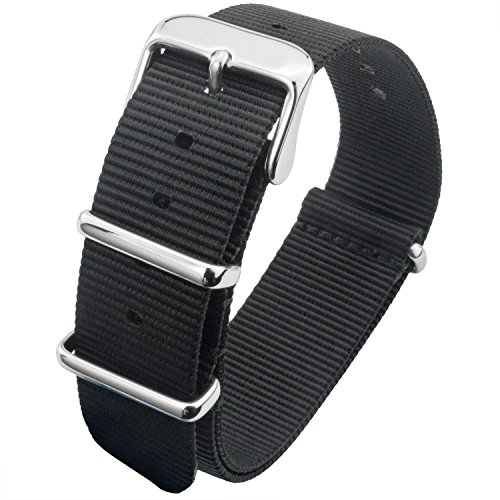 m/24mm Ballistic Nylon Watch Band With Adjustable Stainless Steel Buckle Blue/Green/Brown/Red/Gray/Black/Beige (18mm, Black) (New Black Wet Look Buckle)