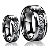 His & Hers - 8MM/6MM Tungsten Carbide Celtic Knot Dragon Design Carbon Fiber Inlay Wedding Band Ring Set