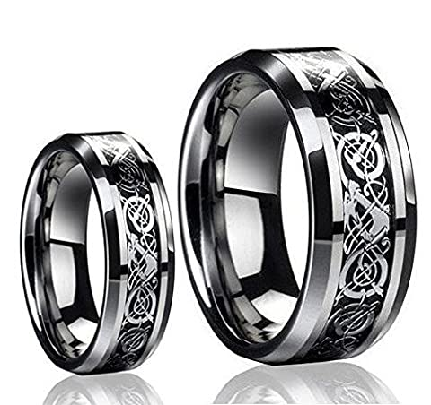 His & Her's 8MM/6MM Tungsten Carbide Celtic Knot Dragon & Carbon Fiber Inlay Wedding Band Ring Set (His And Her Rings Tungsten)